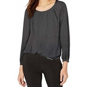 Lark & Ro Women's black white Long Sleeve Blouse